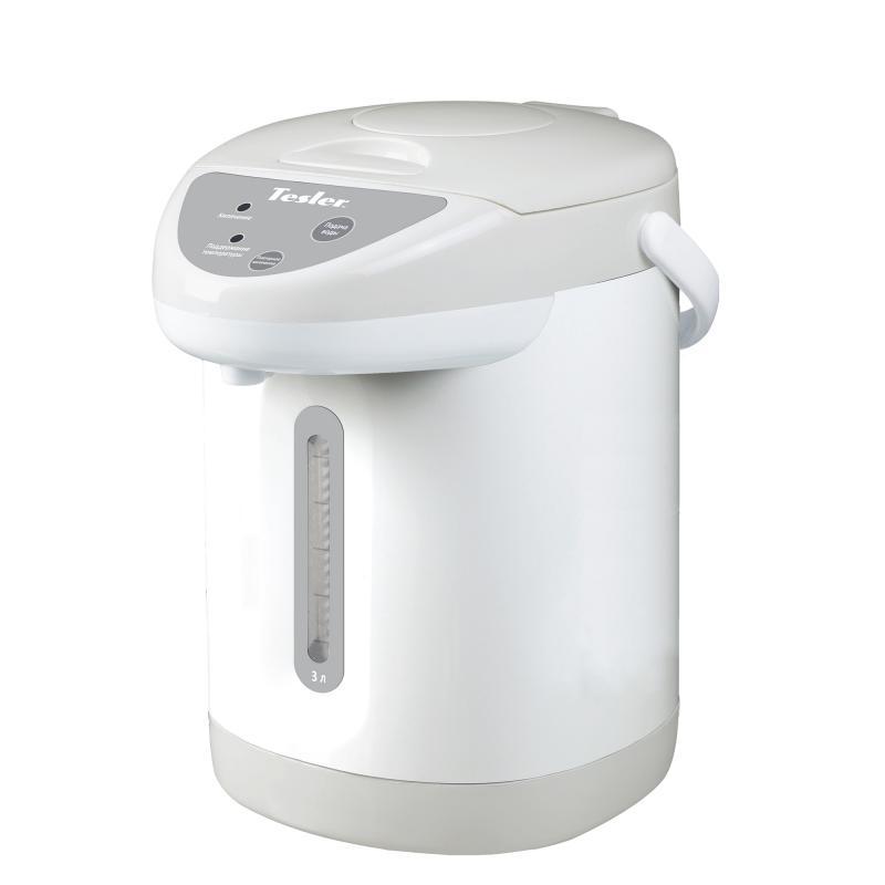 Термопот TESLER TP-3001, 3 литра, 750 Вт., корпус - пластик, колба - нерж. сталь, белый/серый