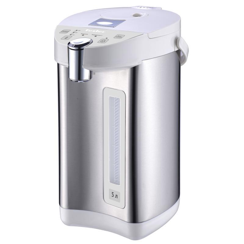 Термопот TESLER TP-5001, 5 литров, 750 Вт., корпус - пластик/нерж. сталь, колба - нерж. сталь, белый/нерж. сталь